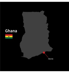 Detailed map of Ghana and capital city Accra with vector image
