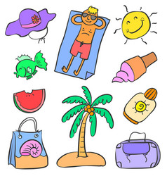 Doodle of object holiday doodles vector
