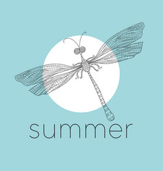 Dragonfly damselfly line art vector