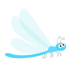 Dragonfly icon cute cartoon kawaii funny vector