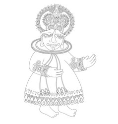 Drawing of south indian traditional kathakali vector