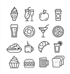 Fast junk food icons set vector