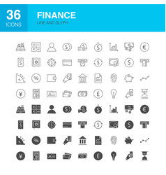 finance line web glyph icons vector image