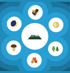 Flat icon bio set of bird half moon canadian and vector