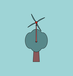 Flat icon design collection wind turbine and tree vector