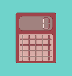 Flat icon with thin lines calculator vector