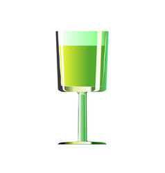 full glass shot with green alcoholic drinks vector image