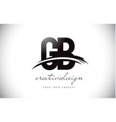 Gb g b letter logo design with swoosh and black vector