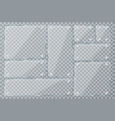glass plates on transparent background empty vector image