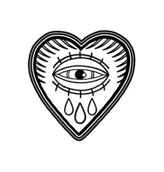 Graphic flaming heart with watery eye vector