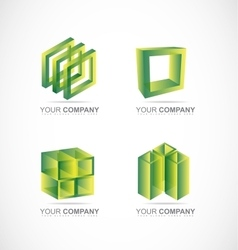 Green square cube box logo icon set vector image