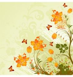 grunge flower background vector image