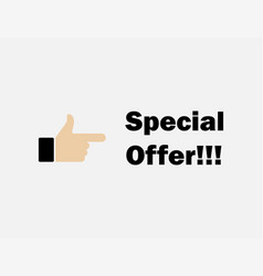 hand holding - special offer vector image