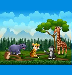 happy wild animals enjoying in green field vector image