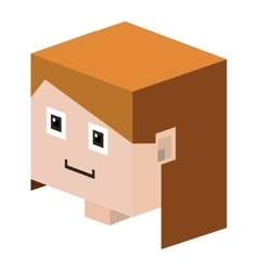 Head lego girl with light brown hair vector