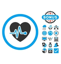 Heart Pulse Flat Icon with Bonus vector image