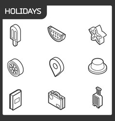 holidays outline isometric icons vector image