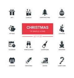 holidays theme christmas - line design icons set vector image