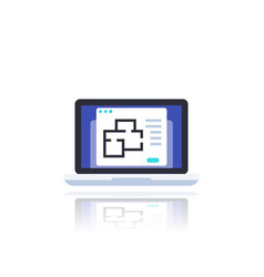 home plan on screen laptop vector image