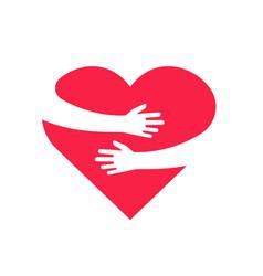 hugging heart hands holding heart arm embrace vector image
