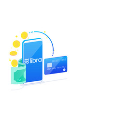 Isometric libra digital currency on white vector