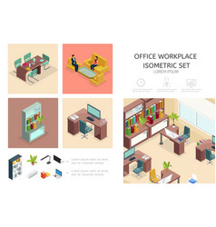 isometric office interior infographic concept vector image