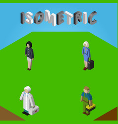 Isometric person set of plumber girl medic and vector
