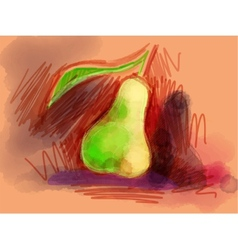Juicy pear drawn with colored pencils and markers vector