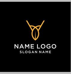 letter v leaf logo vector image