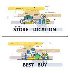 line art store and best buy poster banner vector image