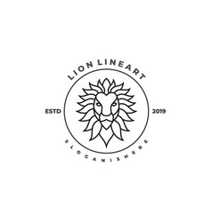 lion line design template vector image