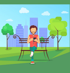 man sits on bench in city park with modern vector image