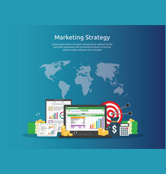 Marketing strategy spreadsheet on screen business vector