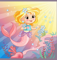 mermaid on sea cartoon vector image