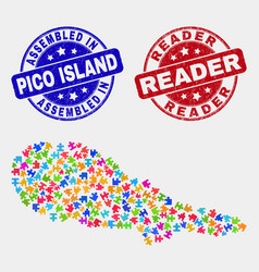 Module pico island map and grunge assembled and vector
