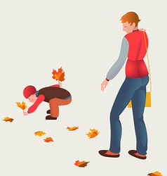 Mother and child on autumn walk vector image