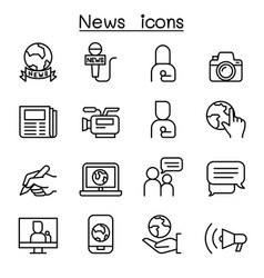 news icon set in thin line style vector image