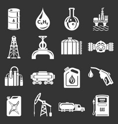 oil industry icons set grey vector image