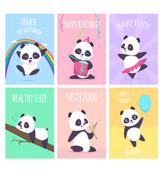 panda cards cute little bear animals cover vector image