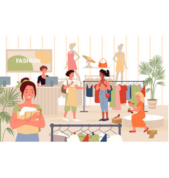 people shopping in fashion retail store happy vector image