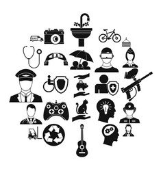 personnel department icons set simple style vector image