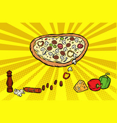pizza ingredients cheese sausage peppers mushrooms vector image