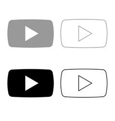 play button icon outline set grey black color vector image