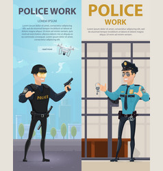 Police work vertical banners vector