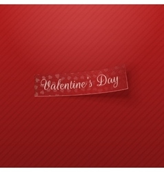 Realistic red textile Tag with Valentines Day Text vector