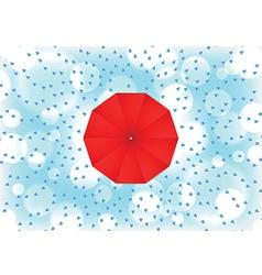 Red umbrella with rain drop vector image vector image