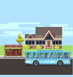 residential house with bus stop flat vector image