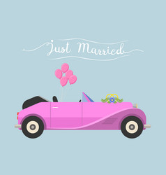 Retro cabrio car wedding just married vector