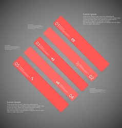 Rhombus template consists of five red parts on vector