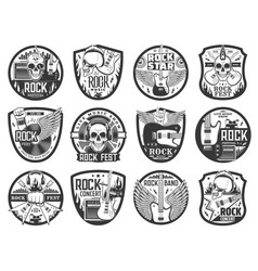rock music icons with guitars drums and skulls vector image